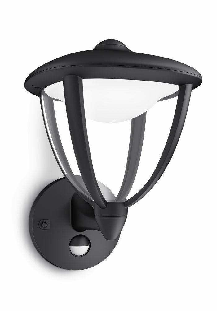 LED venkovní nástěnné svítidlo s pohybovým čidlem Philips ROBIN 15479/30/16 - černá