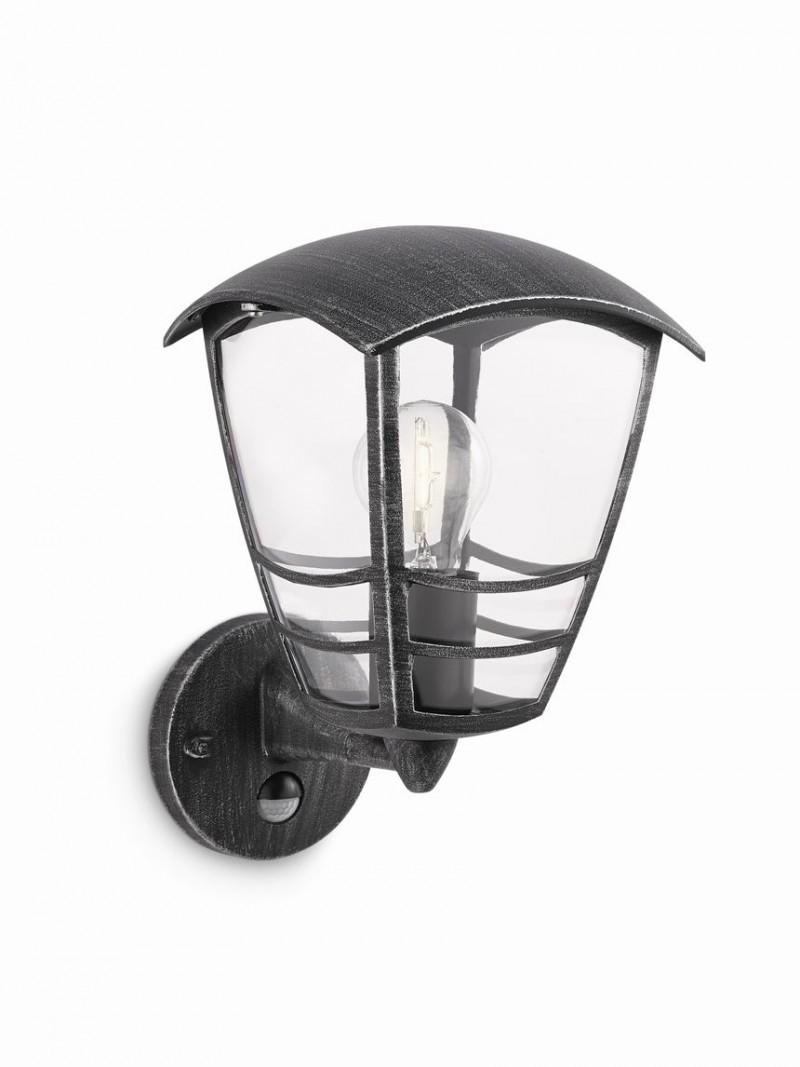 venkovní nástěnné svítidlo s pohybovým čidlem Philips 15468/54/16 - černá s šedou patinou