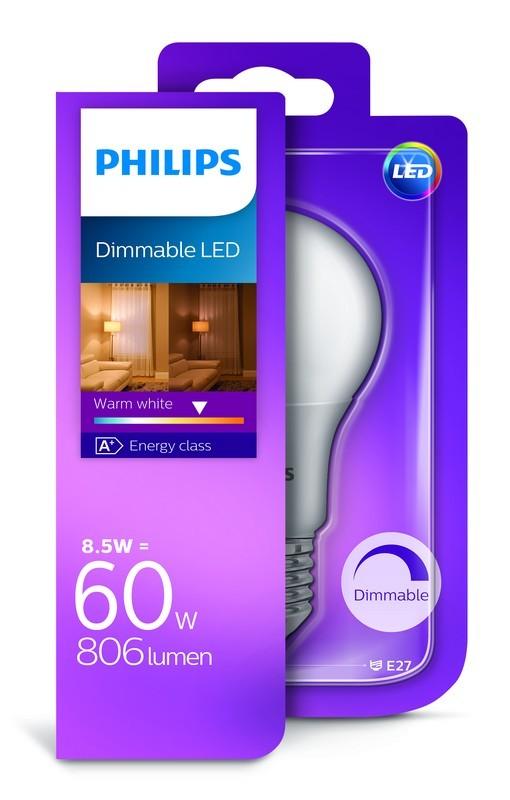Philips LED žárovka E27 8,5W 60W teplá bílá 2700K