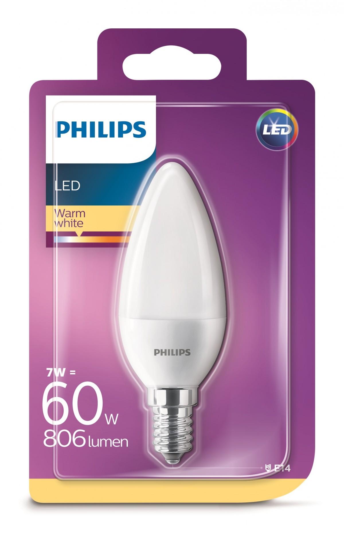 Philips Žárovka LED svíčka, 7W, E14, teplá bílá
