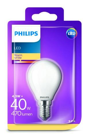 Philips LED žárovka 929001345501 230 V, E14, 4.3 W = 40 W, teplá bílá, A++ (A++ - E), kapkovitý tvar, vlákno