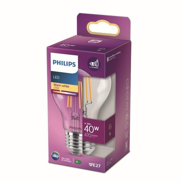 Philips 8718699761998 LED žárovka 1x4,3W   E27   470lm   2700K - teplá bílá, čirá, EyeComfort