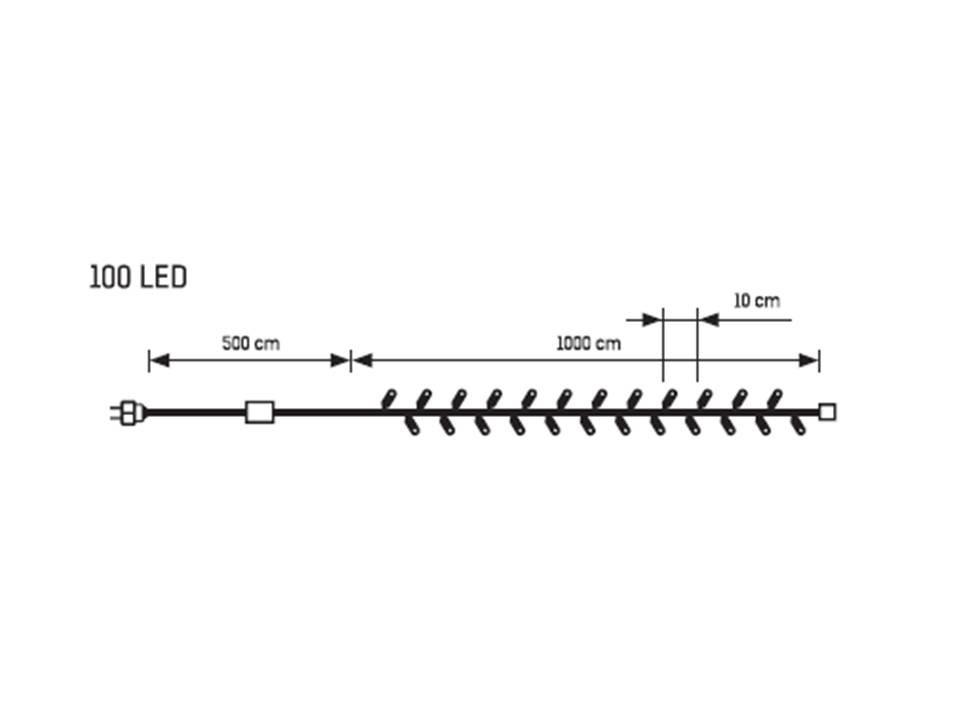 LED vánoční řetěz studená bílá - 100 LED 32100 délka 10 m, IP20 - pro vnitřní použití