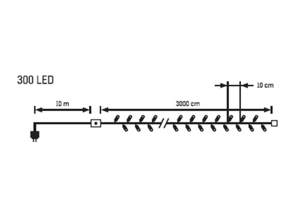 LED vánoční řetěz teplá bílá 31943 délka 30 m, IP44 pro venkovní i vnitřní použití