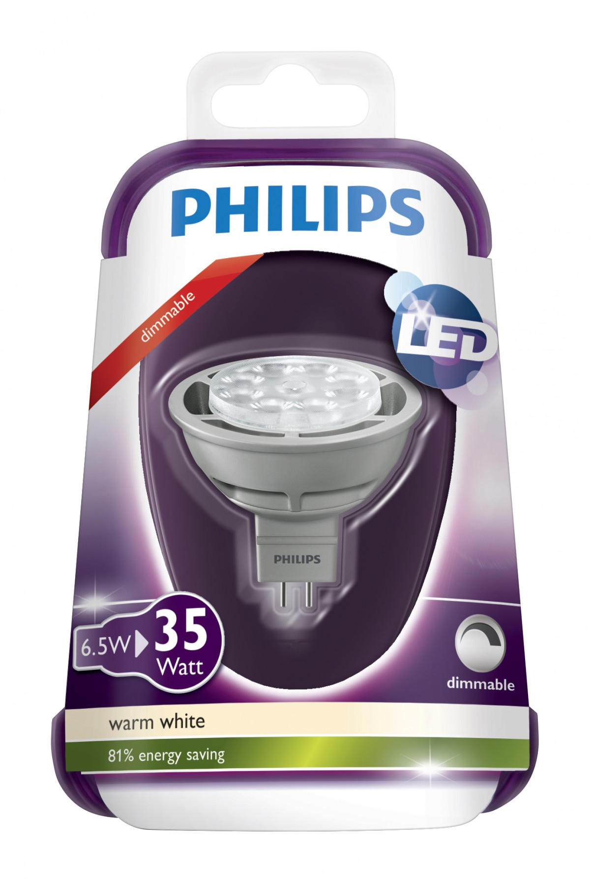LED žárovka 8718291761693 6,5W (35W) GU5.3 WW 12V MR16 36D Grey Dim/4, bodové