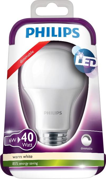 LED žárovka 8718696478738 6W (40W) E27 WW 230V A60 DIM, bílá