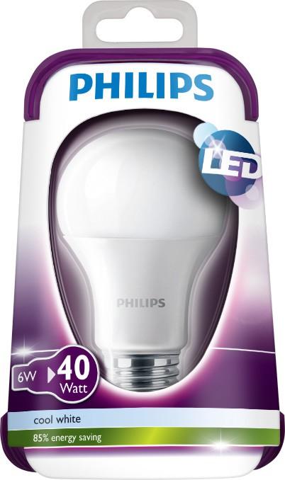 LED žárovka 8718696510209 6W (40W) E27 CW 230V A60 FR, bílá
