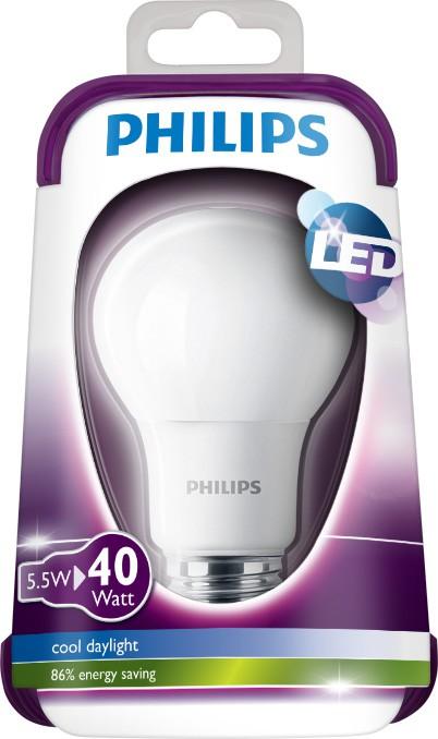 LED žárovka 8718696510544 5,5W (40W) E27 CDL 230V A60 FR, bílá