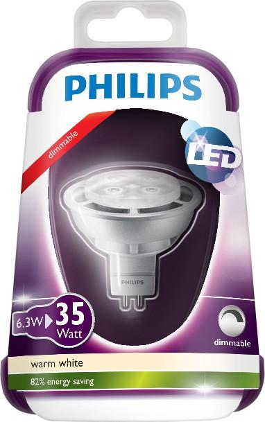 LED žárovka 8718696490334 6,3W (35W) GU5.3 WW 12V MR16 36D, bodová