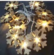 Světelný LED řetěz s dřevěnými vločkami 33770