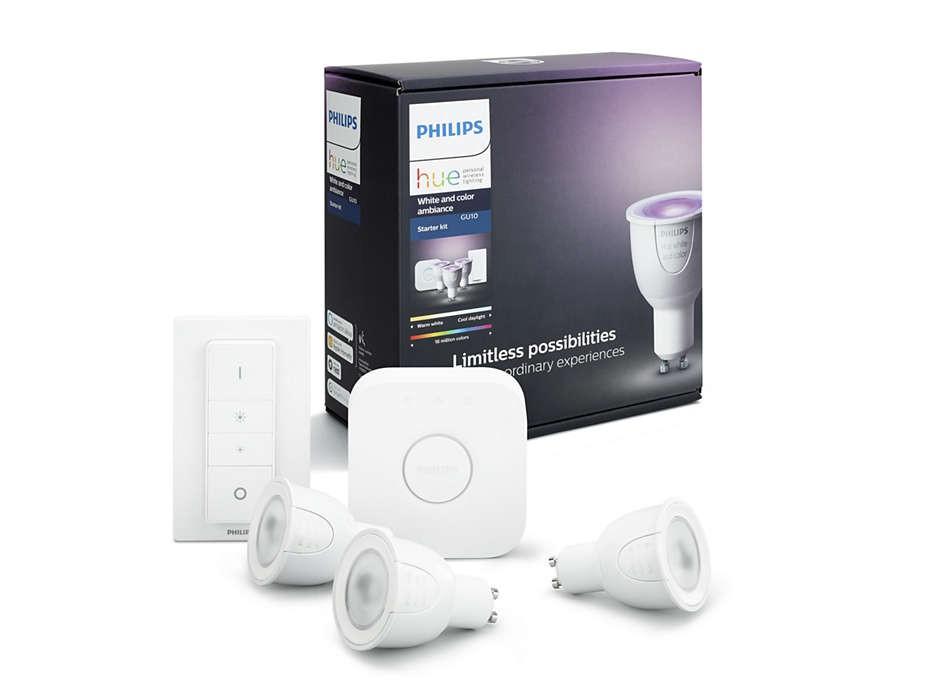 Inteligentní LED žárovky + bridge + ovladač Philips HUE 6,5W GU10 - 8718696748930