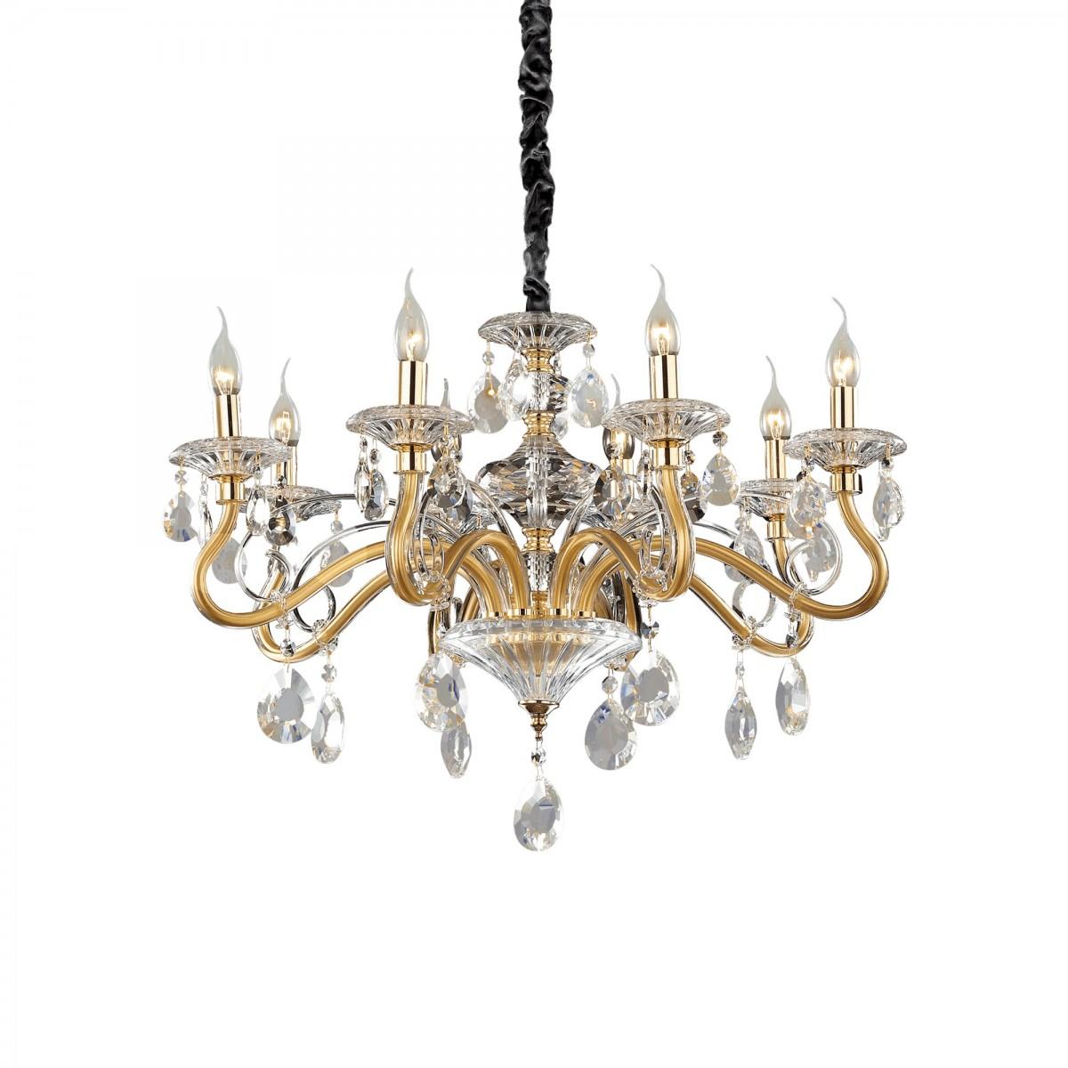 závěsné svítidlo lustr Ideal lux Negresco SP8 141053 8x40W E14 - dekorativní luxus