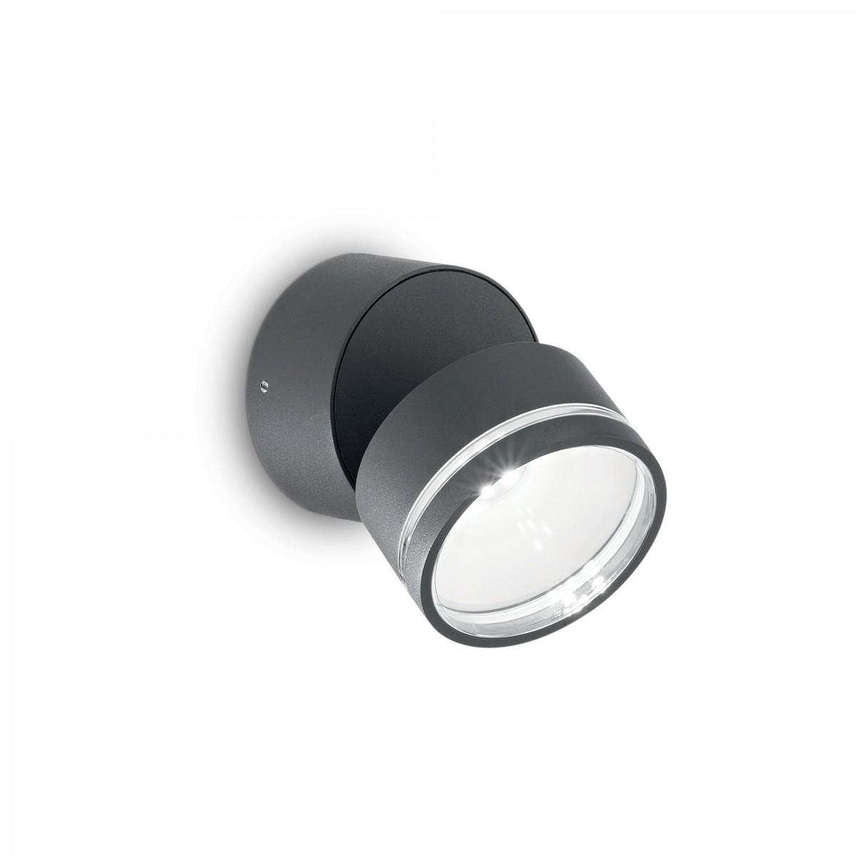 Ideal Lux 172552 LED venkovní nástěnné svítidlo Omega Round Antracite 1x7,3W|IP54 - antracitové