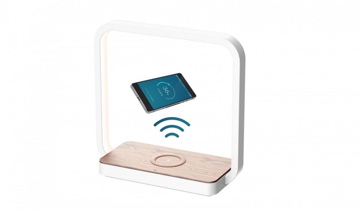 Immax 08956L LED stolní lampa Owl s bezdrátovým nabíjením 1x4W   4000K - stmívatelná, dotykové ovládání, dřevěný dekor
