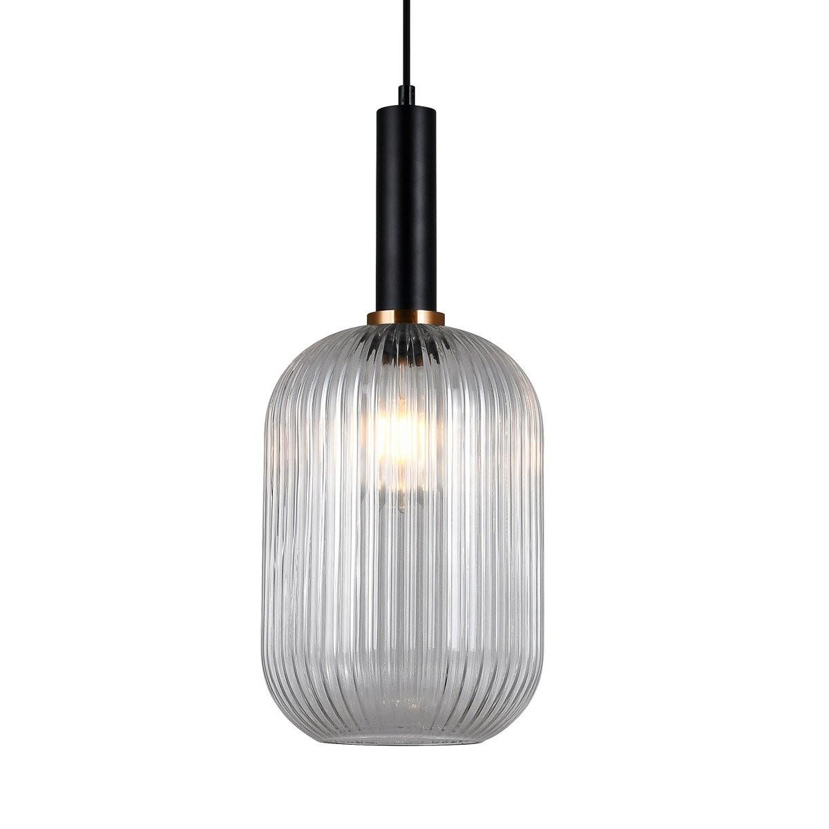 Italux PND-5588-1L-BK+CL závěsné stropní svítidlo Antiola 1x40W | E27 - černá, průhledná