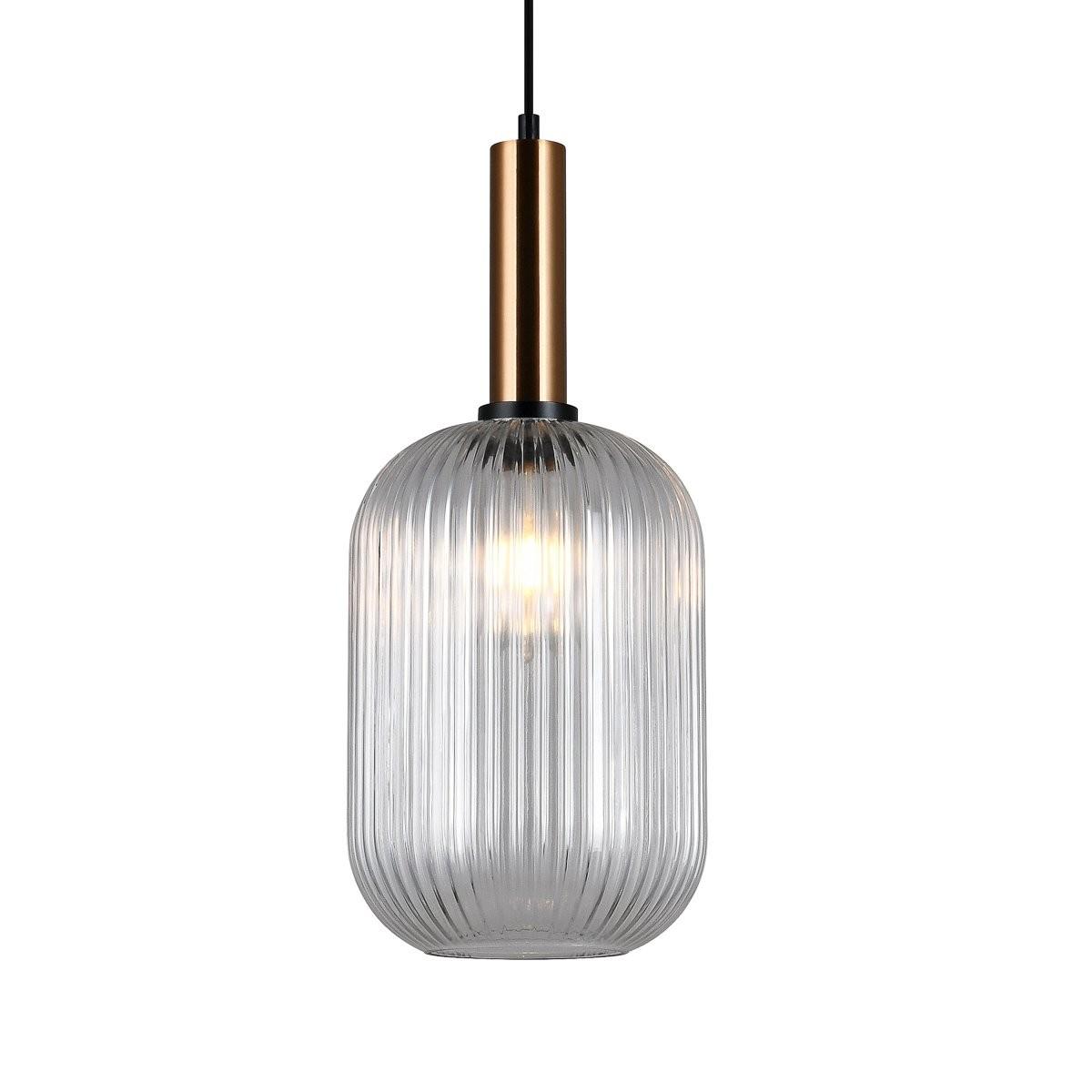 Italux PND-5588-1L-BRO+CL závěsné stropní svítidlo Antiola 1x40W | E27 - mosaz, průhledná