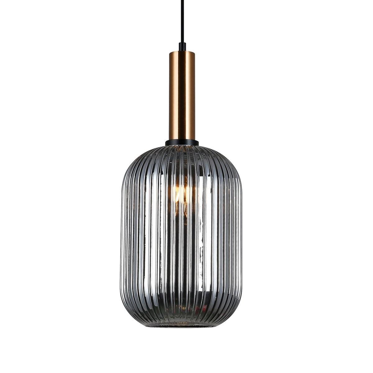 Italux PND-5588-1L-BRO+SG závěsné stropní svítidlo Antiola 1x40W | E27 - mosaz, kouřová
