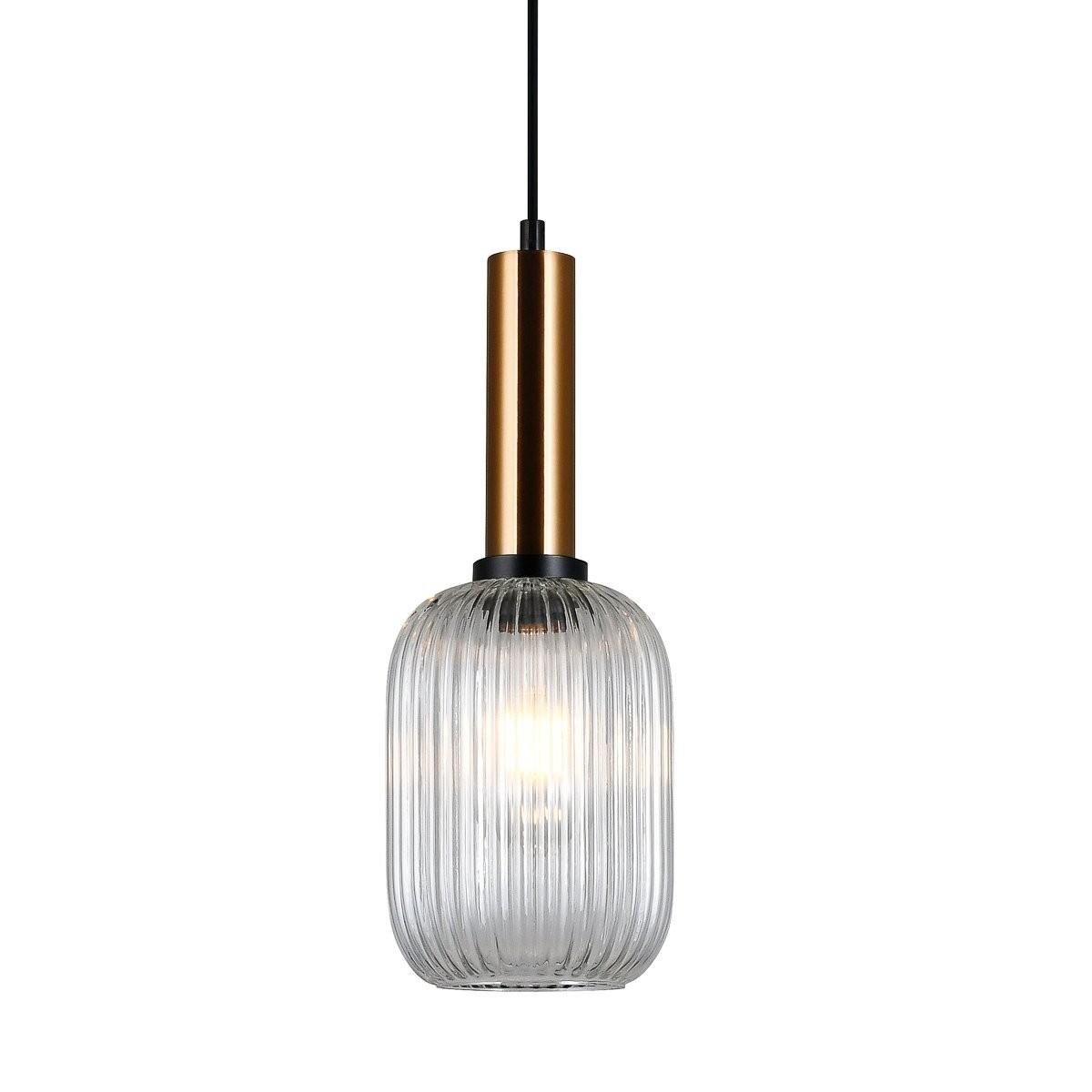 Italux PND-5588-1M-BRO+CL závěsné stropní svítidlo Antiola 1x40W | E27 - mosaz, průhledná