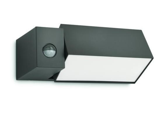 venkovní nástěnné svítidlo s pohybovým čidlem Philips BORDER 16943/93/16 - antracit šedá