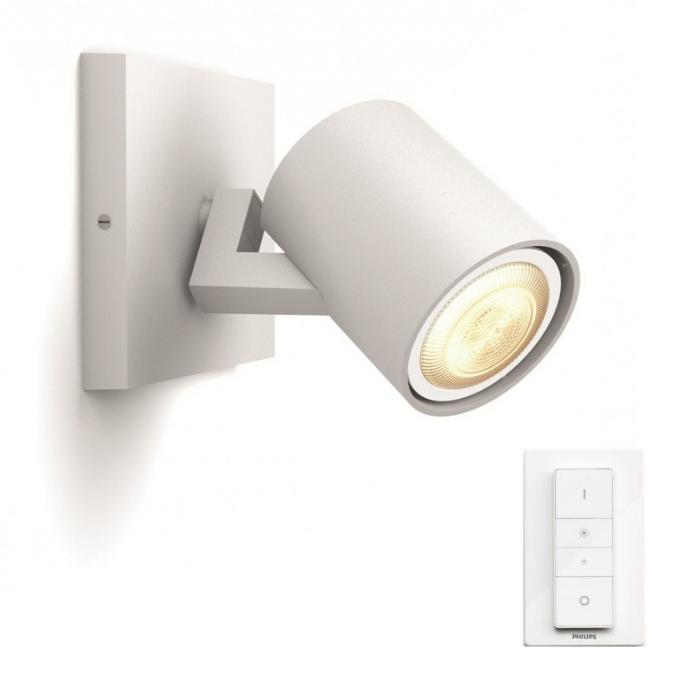 LED nástěnné svítidlo bodové Philips HUE RUNNER GU10 - bílá s dálkovým ovladačem - Philips 53090/31/P7
