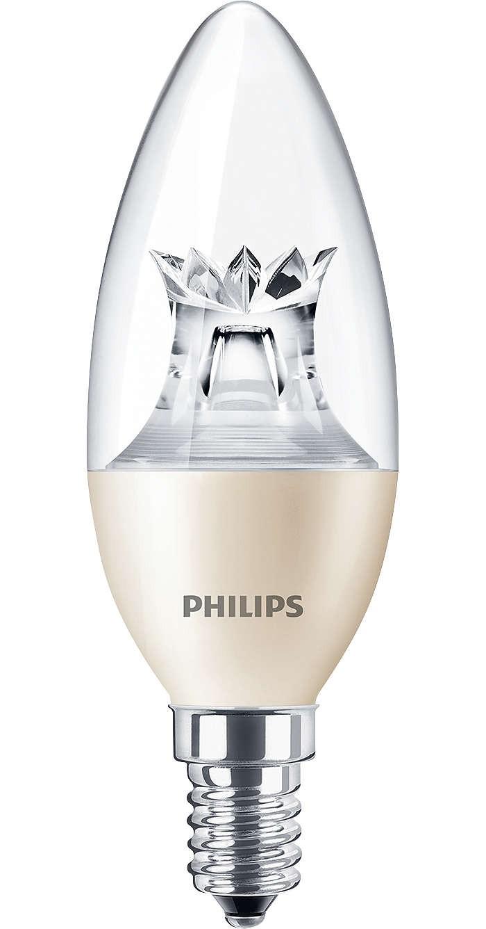 LED žárovka úsporná Philips 6W -> ekvivalent 40W E14 - MASTER LEDcandle DT 6-40W E14 827 B38 CL