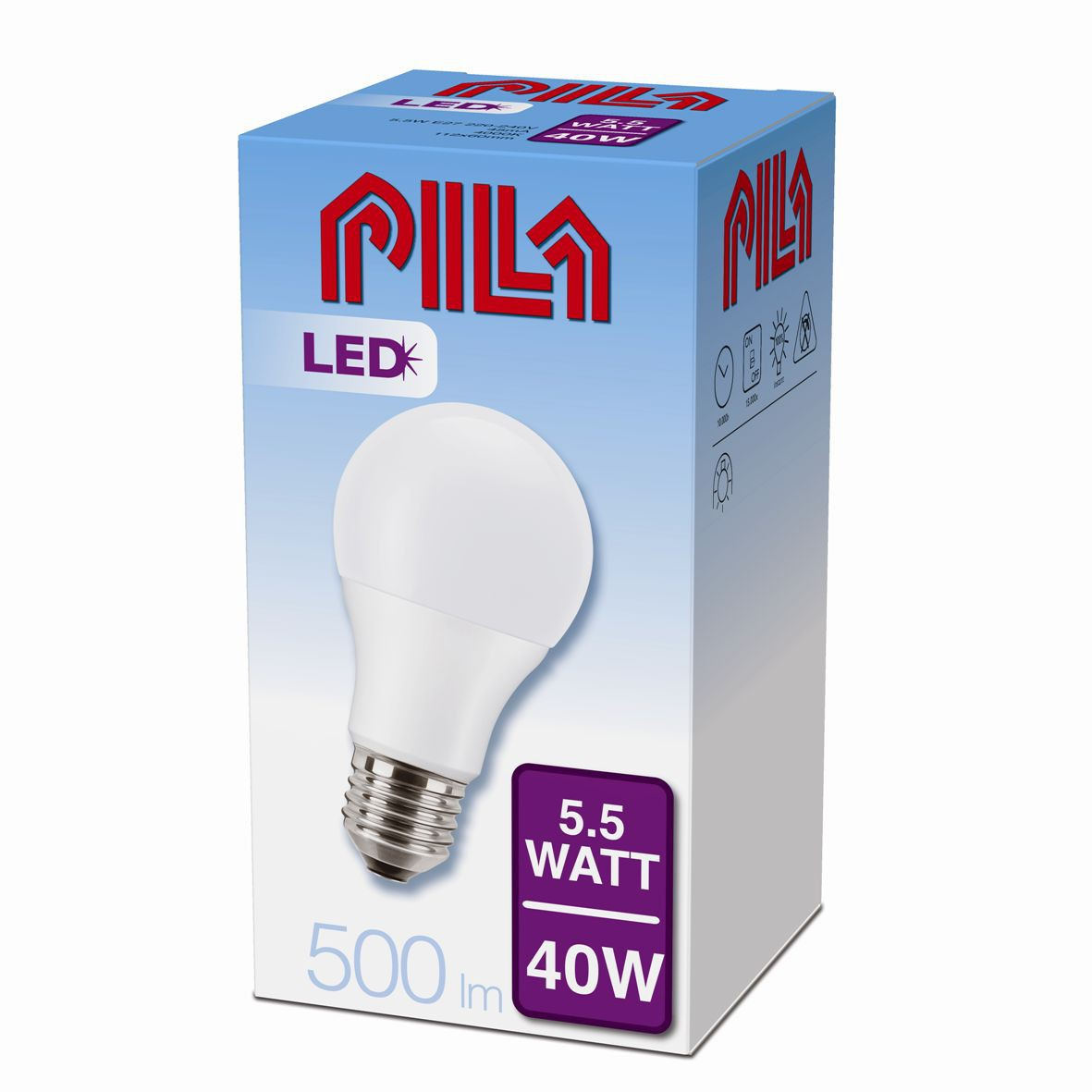 LED žárovka úsporná Philips 5,5W E27 - PILA LED BULB 40W E27 840 A60 FR ND