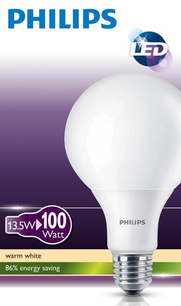 LED žárovka úsporná Philips 13,5W -> nahrazuje 100W E27 - LED Globe 100W E27 WW 230V