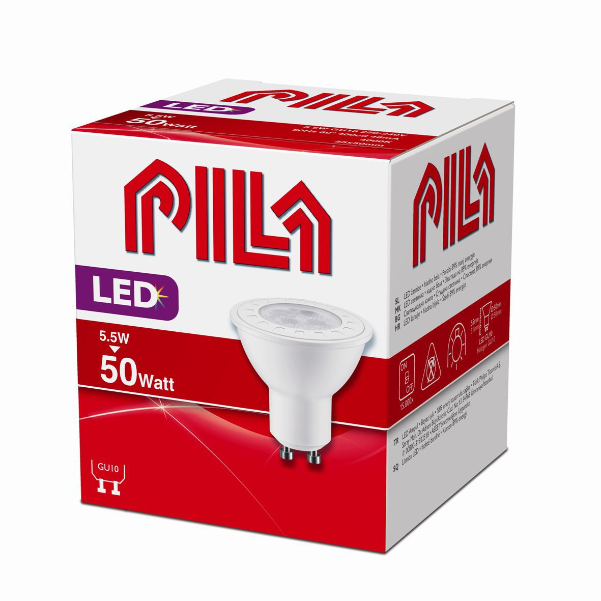 LED žárovka úsporná Philips 5,5W -> 50W GU10 - PILA LED SPOT MV 50W GU10 840 60D ND