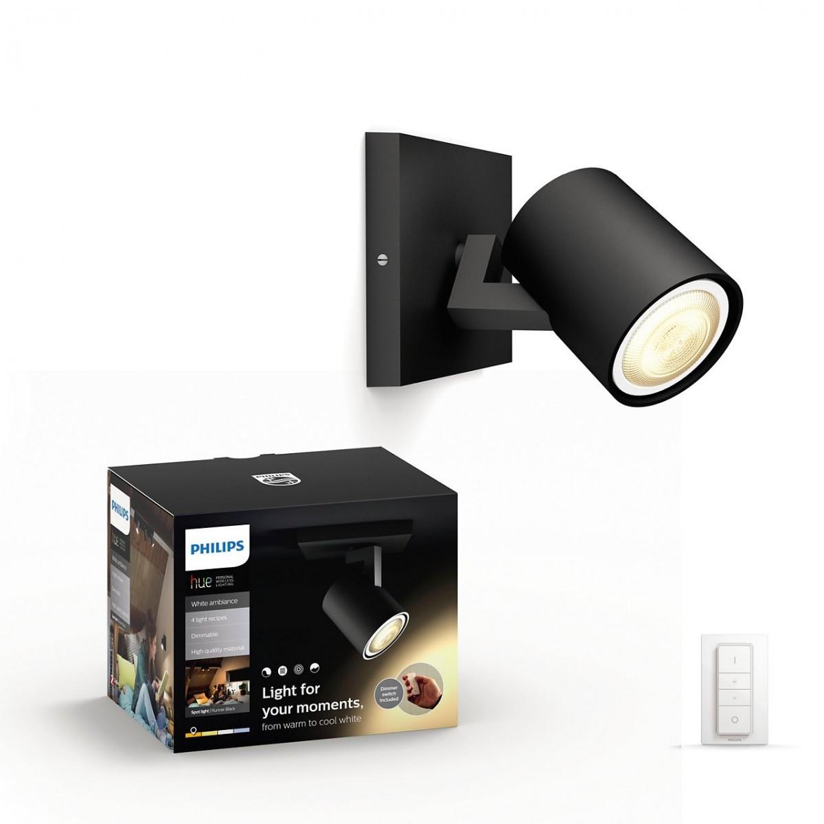 LED nástěnné svítidlo bodové Philips RUNNER HUE - černá s dálkovým ovladačem - Philips 53090/30/P7