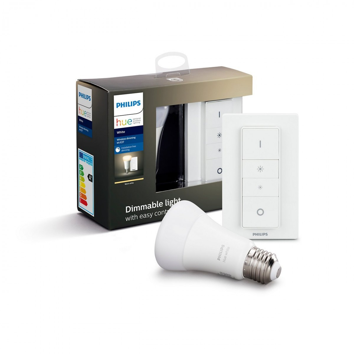 Philips Hue 8718696785331 Starter kit LED žárovka + ovladač Dimmer Switch 1x9W|E27 - Bluetooth, White Philips Hue E27 W 9,5W BT + vypínač