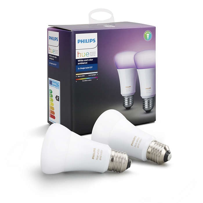 Philips Hue 101442/90/52 LED žárovky 9,5W|E27|RGB - White and Color Ambiance, double pack
