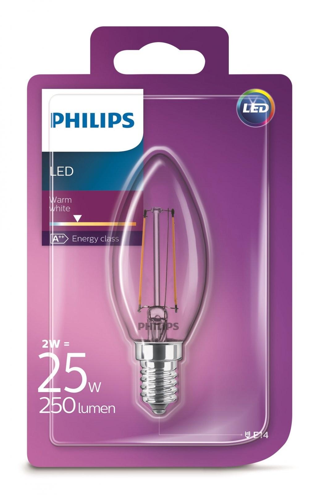 Philips 101383251 LED žárovka Classic 1x2W E14 2700K Philips LED žárovka ve tvaru svíčky E14 / 2 W (250 lm) teplá bílá 57385300