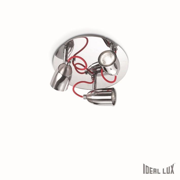 nástěnné a stropní svítidlo Ideal lux Pollicino PL3 052274 3x28W GU10 - chrom/červená
