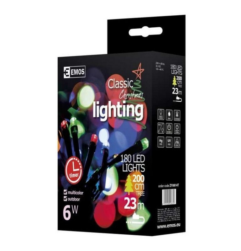 ZY0814T vánoční řetěz CLASSIC 180LED multicolor IP44 18m + časovač