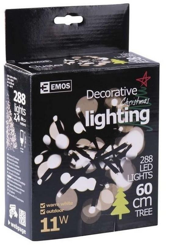 Emos ZY1411 LED vánoční řetěz Cluster 2,4m 11W   IP44   288 žárovek - teplá bílá