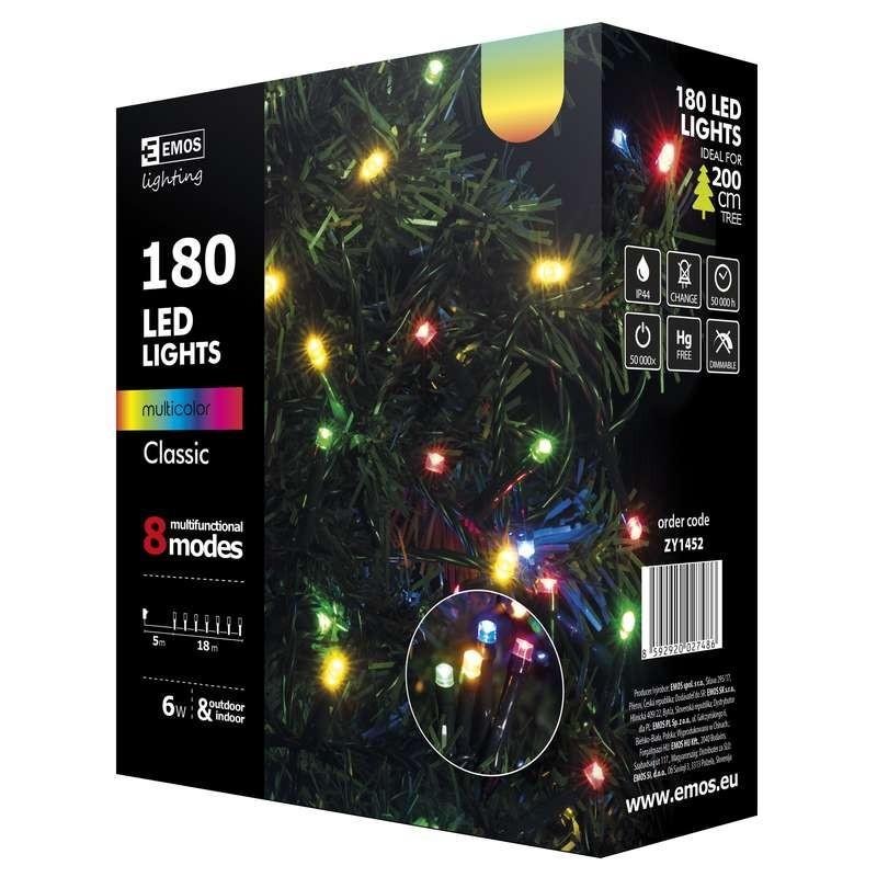 ZY1452 vánoční řetěz CLASSIC 180LED IP44 18m multicolor / 8 režimů / časovač