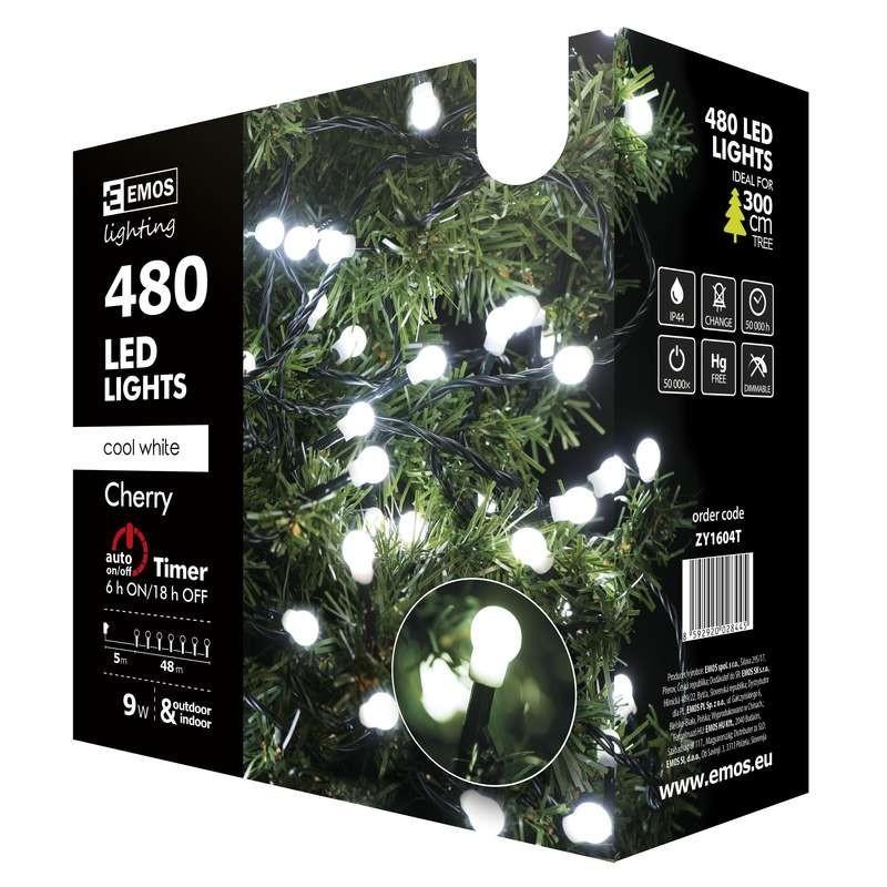 Emos ZY1604T LED vánoční řetěz Cherry 48m 9W   IP44   480 žárovek - studená bílá, časovač