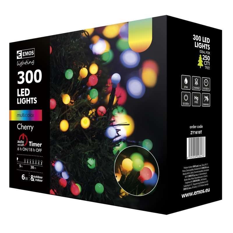ZY1610T vánoční řetěz CHERRY 300LED multicolor IP44 30m + časovač