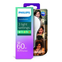 Philips LED Scene Switch 8-5-2W / 60W E27 WW A60 D FR 3 barvy