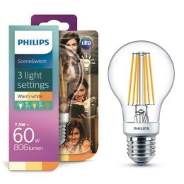 Philips LED Classic Scene Switch 1,6-3-7,5 / 60W E27 WW A60 CL D 3 barvy