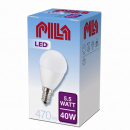 LED žárovka úsporná Philips 5,5W -> 40W E14 - PILA LED LUSTER 40W E14 827 P45 FR ND