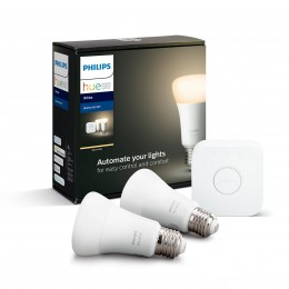 Philips Hue 8718696785218 Starter kit 2x LED žárovka + Bridge 1x9W|E27 - Bluetooth, White