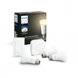 Philips Hue 8718696785232 Starter kit 3x LED žárovka + ovladač Dimmer Switch + Bridge 1x9,5W|E27 - Bluetooth, White