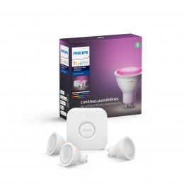 Philips Hue 8718699629274 Starter kit 3x LED žárovka + Bridge 1x5,7W|GU10 - Bluetooth, White and Color Ambiance