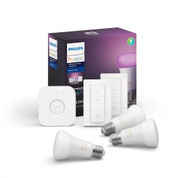 Philips Hue 8718699696917 Starter kit 3x LED žárovka + 2x ovladač Dimmer Switch + Bridge 9W|E27 - White and Color Ambiance